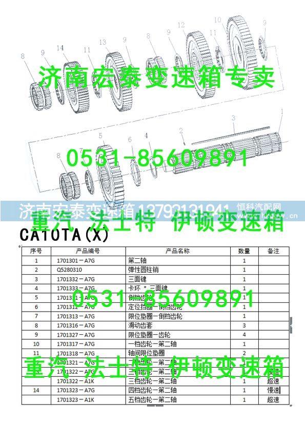 1701391-A9K 解放伊顿变速箱二轴五档齿轮/1701391-A9K